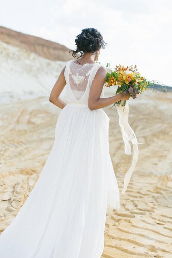 Milch-Schirm öffnen zurück Hochzeitskleid mit Baumwollslip