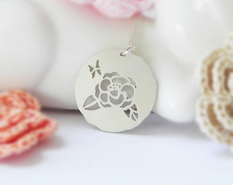Camellia Necklace, Sterling Silver