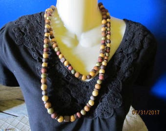 "Vintage 48"" Multi Tone Colored Wood Wooden Single Strand Chunky Beaded Necklace"