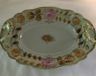 19th Century Porcelain Handled Rose Floral w/ Raised Gold Tray