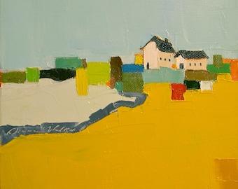 Farm Quilt- 8x8 Original Barn Oil Painting on Canvas- Farmhouse, Barn, Landscape