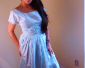 Vintage Dress ,bombshell , Womens Rockabilly dress, baby blue  StilettoRanch