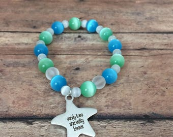Sandy Toes and Salty Kisses Bracelet Beach Themed Bracelet Beachy Bracelet Beach Lover Gift Beachy Jewelry Ocean Jewelry summer vacation