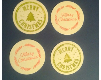"""GIFT TAGS Christmas tags 1.75"""" 25pcs. WHITE. Christmas circle tags, gift tags/23sweets/party/gift/hang tags/scrap booking/paper,decoration"""