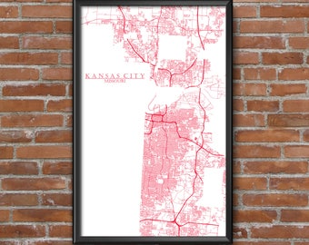 Kansas City, Missouri Map Art (KC Chiefs)