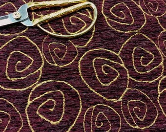 """56"""" Wide Plush Yellow Gold Abstract Swirl Burgundy Plum Wine Maroon Cotton Chenille Upholstery Fabric for Headboards Chairs Ottomans ST"""