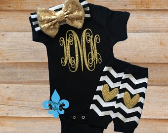 Personalized Baby, Monogram Baby Girl, Baby Girl Outfit, Newborn Baby girl,