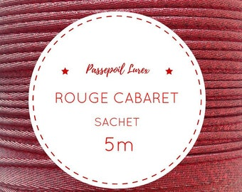 5 m red lurex piping bag