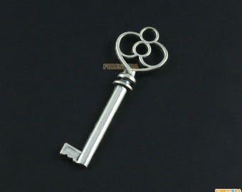 10Pcs Antique Silver Key Charm Key Pendant 62x28mm (PND1615)