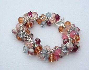 Earthy Czech Glass Charm Bracelet