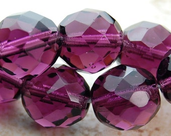 10mm Czech Beads Faceted  in Mulberry -10