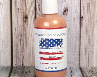 Copper color shimmer American Paint Company Metallix semi-sheer paint or finish