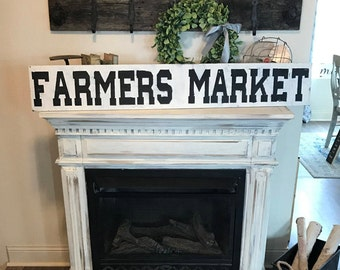 Farmer's Market Sign/ 4 ft / distressed /farmhouse decor / white and black sign / wood sign