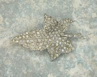 Vintage Rhinestone Leaf Brooch, Rhinestone Maple Leaf Brooch, 1950s Rhinestone Brooch, Vintage Rhinestone Foliage Jewelry,