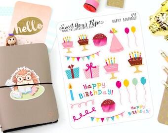 Birthday Planner Stickers - Happy Birthday Stickers - Cake Planner Stickers - Balloon Planner Stickers - Planner Stickers - 047