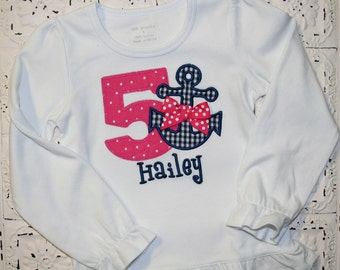 Hot pink and navy Girls Anchor Nautical Birthday Applique Shirt- Free Personalization-- All birthday numbers are available