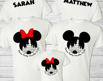 Personalized Disney Family Shirts - Group Matching Shirts - Cinderella's Castle - Mickey & Minnie Mouse Ears