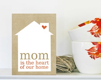Mom is the Heart of our Home Mothers Day Greeting Art Card Beige Latte Dots