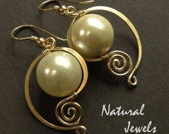 brushed brass swarovski Pearl bead earrings
