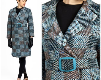 Vintage 50s/60s Turquoise and Brown Checked Wrap Jacket with Belt by Betty Rose   Small/Medium