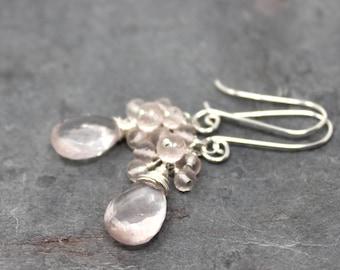Cluster Rose Quartz Earrings Delicate Beaded Pale Pink Gemstone Earrings Sterling Silver