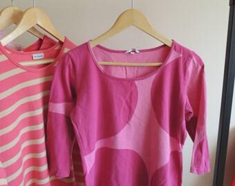 FREE SHIPPING - MARIMEKKO pink Circle Cotton top 3/4 sleeves, size L