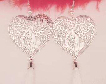 Heart cat and tassel earrings