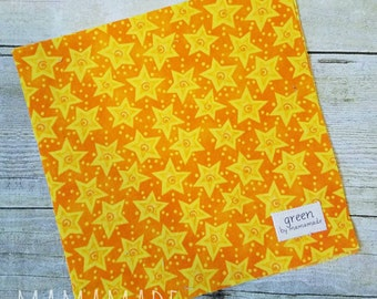 Stars on Orange - Reusable Sandwich Bag | Snack Bag | Waterproof | Travel Bag from green by mamamade