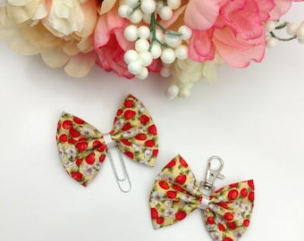 Raspberry Floral Fabric Bow Clip or Charm     [122]