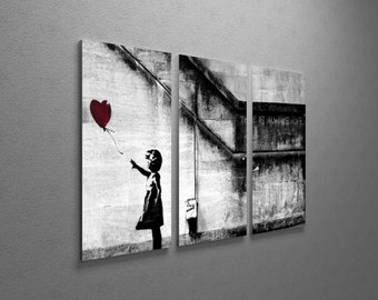 """Banksy Girl With Balloon Gallery Wrapped Canvas Triptych Print 48""""x30"""""""