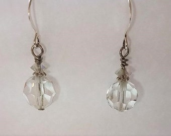Earrings Clear Crystal & Silver