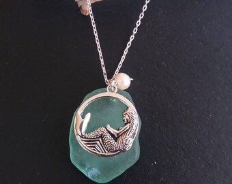 Mermaid Jewelry Sea foam Sea Glass Necklace Sea Glass Jewelry Mermaid  Necklace Seaglass Jewelry Beach Wedding Sea Glass Necklace