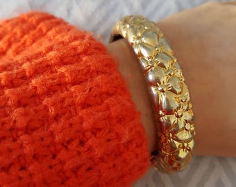 Vintage Gold Tone Floral Hinged Cuff Bracelet