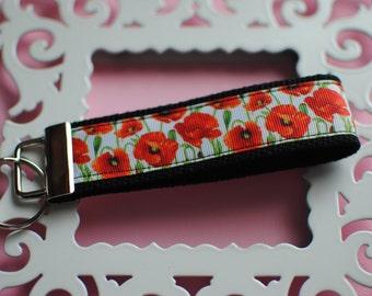 Poppy Flowers Key Fob