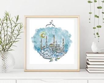 "Watercolor Painting entitled ""Dreaming Blue Mosque"", Digital, Watercolor print, Islamic Decor, Printable Art, Islamic Print, Istanbul Masjid"