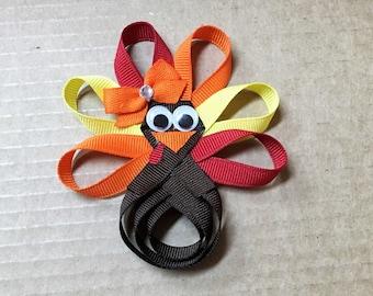 Turkey Hair Bow, Turkey Hair Clip, Thanksgiving Hair Bow, Turkey Ribbon Sculpture
