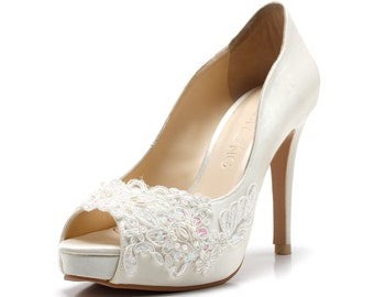 Miss Ace 2,Ivory White LaceAdorned Wedding Shoes,Ivory White Bridal Heels,Ivory White Lace Wedding Shoes, Ivory White Pearl Bridal Heels