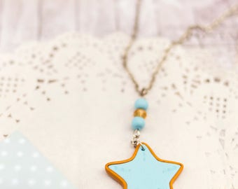 Sea star necklace pendant Starfish necklace pendant Beach necklace Starfish jewelry Ocean necklace Sea star jewelry Polymer clay