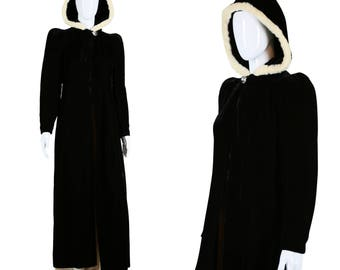 20s Hooded Cape 1920s Velvet Cape with Rabbit Fur Dramatic Cloak Full Length Cape