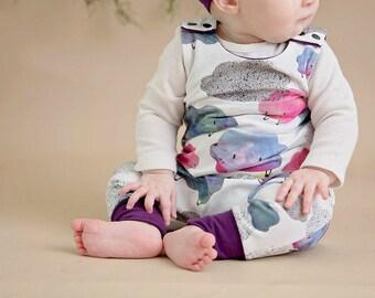 ORGANIC Cloud Romper, Baby Shower Gift, Cute Girl Romper, baby girl romper,  newborn romper floral romper toddler romper baby shower gift