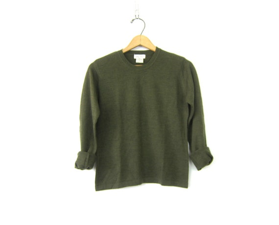 Thin Merino Wool sweater Simple Army Green sweater basic Casual Pullover women's sweater size Small