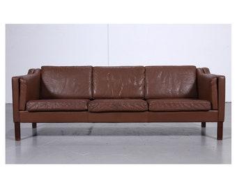 Beautiful Vintage Danish Leather Sofa By Mogens Hansen