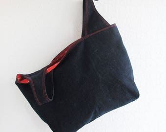 Reusable Denim Grocery Bag | Machine washable market shopping tote bag in a sturdy denim fabric. Also makes a great project tote.