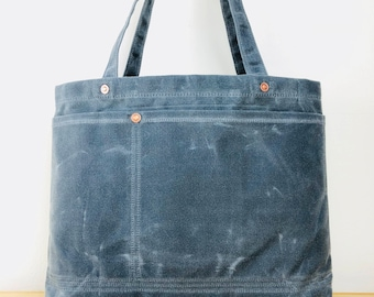 The Submarine   waxed canvas vegan shoulder tote bag with lots of pockets