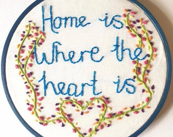 SALE Home Is Where The Heart Is Handmade Embroidery Hoop