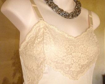 Vintage 1960s Ivory Silky Nylon and Lace Wondermaid Full Slip, Petticoat, Size 8-10 (161)