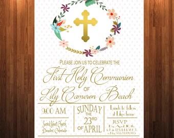 First Communion Invitation, Baptism Invitation, First Holy Communion, Catholic Sacrament Invitation