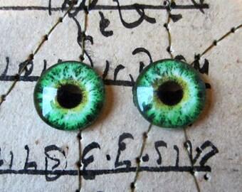 Pair of Taxidermy Glass Dragon, Human, Monster, Doll, Bear Craft Eyes, Green 10mm, 14mm, 16mm