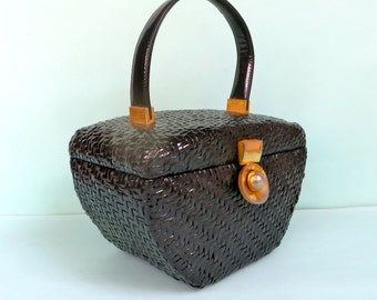 Vintage Koret Black Woven Wicker Box Purse/Black Wicker Handbag/1960's Koret Wicker Box Purse