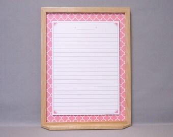 "Pink / White Quatrefoil Large Message Center Dry Erase Board 24""x18"" - Flamingo Moroccan Tile Pattern Whiteboard - Memo Board / Note Board"